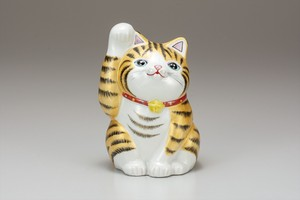 KUTANI Ware Size 7 Beckoning cat Gold Decoration Ornament