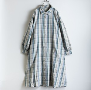 A/W Checkered Tuck Shirt One-piece Dress