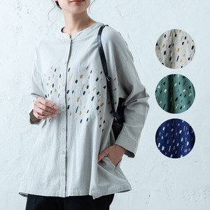 Long Embroidery Wide Shirt Tunic