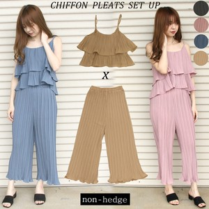 For Summer Pleats Chiffon Cami Suit Set