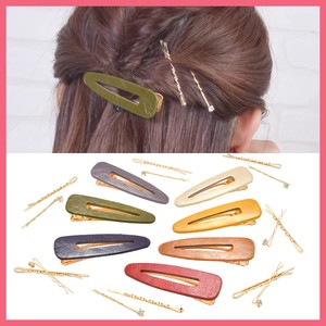 Leather Lip Gold Hairpin 3Pcs set