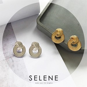 Double Circle Design Pierced Earring Gold Silver Korea Fashion