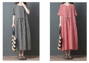 Leisurely Gingham Check Short Sleeve Long One-piece Dress 2 Colors Clothing