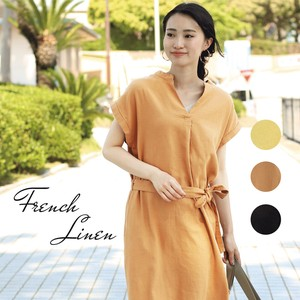 French Linen Twill Line One-piece Dress