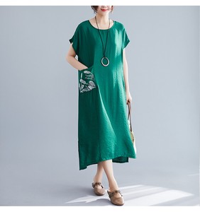 Leisurely Plain Embroidery Short Sleeve Long One-piece Dress Clothing