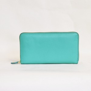 All Leather Long Wallet Goat Men's Ladies Round Fastener Turquoise