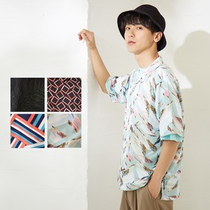 S/S Men's Leaf Geometry Repeating Pattern Short Sleeve Open Color Shirt