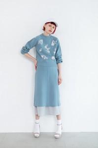 【予約販売】ニット×チュール スカート