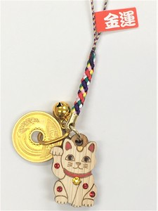 Call Come True Laser Hand Craft Japanese Cypress Beckoning cat Cell Phone Charm