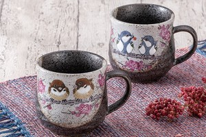 KUTANI Ware Pair Mag Cups Cup Sparrow