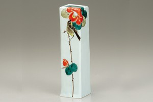KUTANI Ware Size 5 Flower Vase White-eye