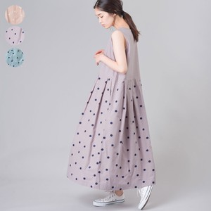 Dot Embroidery Switching Cotton Long One-piece Dress
