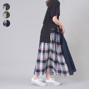 Plain Checkered Switching Cotton Gather Skirt