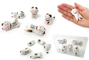 Cat Pottery Beckoning cat Chopstick Rest 5 Pcs Set