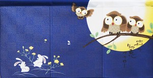 Japanese Noren Curtain Owl Rabbit Japanese Style