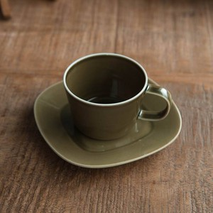 Pottery Cup Saucer Olive MINO Ware