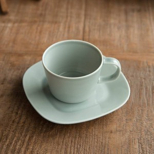 Pottery Cup Saucer Gray MINO Ware