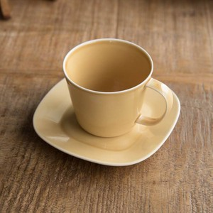 Pottery Cup Saucer Mustard MINO Ware