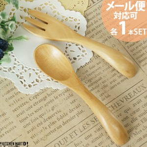 Spoon 1 Pc Fork 1 Pc Set Wooden Natural Wood Baby Spoon Baby Fork Natural