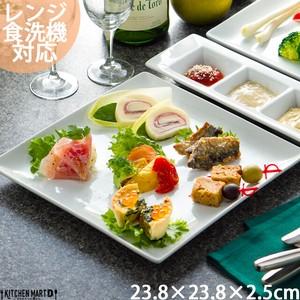 パスタ皿 スクエアー プレート24cm/ホワイト【スクエアプレート/角皿/スクエア/プレート/皿/陶器/食器/白