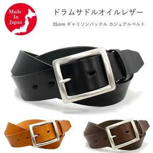 Buckle Casual Belt Drum Saddle Oil Leather Men's Genuine Leather