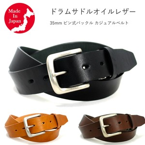 pin Buckle Casual Belt Drum Saddle Oil Leather Men's Genuine Leather