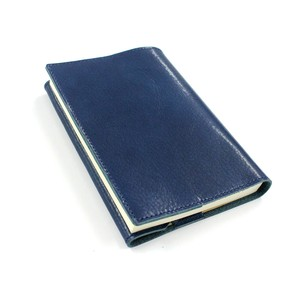 Oil Leather Book Cover Marine Blue