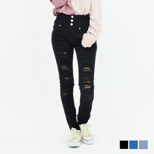 Damage Processing Button High-waisted Denim Skinny Pants