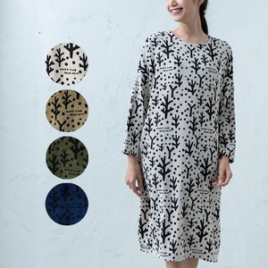 A/W CORDUROY Repeating Pattern Wide One-piece Dress