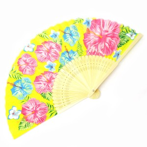 Silk Folding Fan Okinawa Hibiscus Yellow