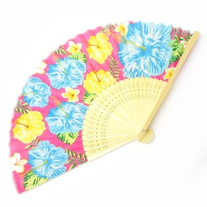 Silk Folding Fan Okinawa Hibiscus Pink