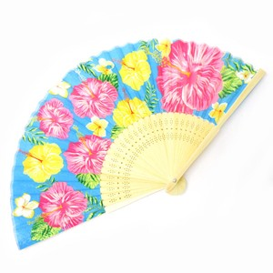 Silk Folding Fan Okinawa Hibiscus Blue