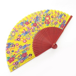 Silk Folding Fan Okinawa Orange