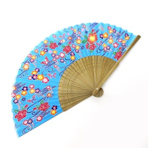 Silk Folding Fan Okinawa Blue