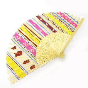 Silk Folding Fan Okinawa Cream