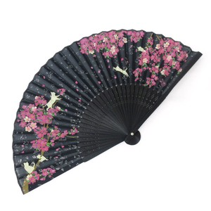 Silk Folding Fan Sakura Black