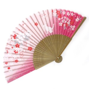 Silk Folding Fan Sakura Pink
