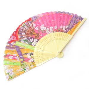 Silk Folding Fan Japanese Pattern Pink