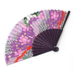 Silk Folding Fan 2 Colors Japanese Pattern