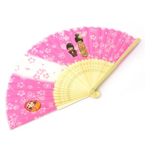 Silk Folding Fan Sakura Kokeshi