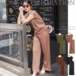 For Summer Teleko Neck French Top wide pants Suit Set