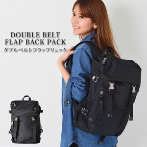 Double Belt Flap Backpack Men's Ladies Large capacity Going To School Nylon Black Business