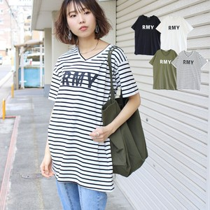 Print T-shirt Top T-shirt Tunic V-neck Short Sleeve