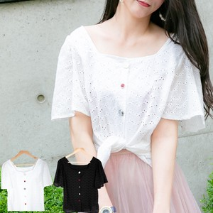 Front Button Cut Work Lace Top