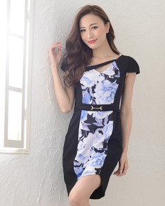 Flower Switch Short Sleeve One-piece Dress Floral Pattern Sexy One Piece Ladies