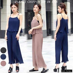 For Summer Pleats Chiffon Wide All-in-one