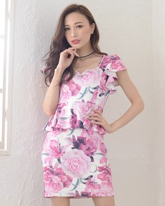 Floral Pattern Plum Short Sleeve One-piece Dress Floral Pattern Sexy One Piece Ladies