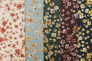 Fabric 5 Colors Free Processing Floret Pattern