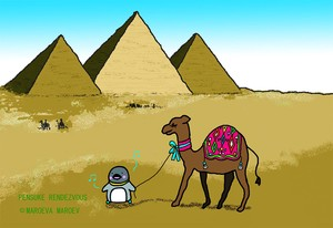Pensuke Rendezvous postcard  14 [desert and camel ]