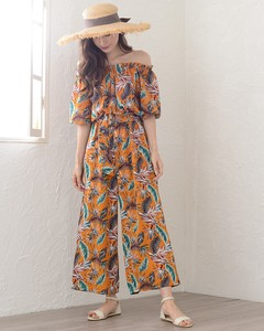 Botanical Feather Pattern Belt Attached All-in-one Floral Pattern Gaucho Relax